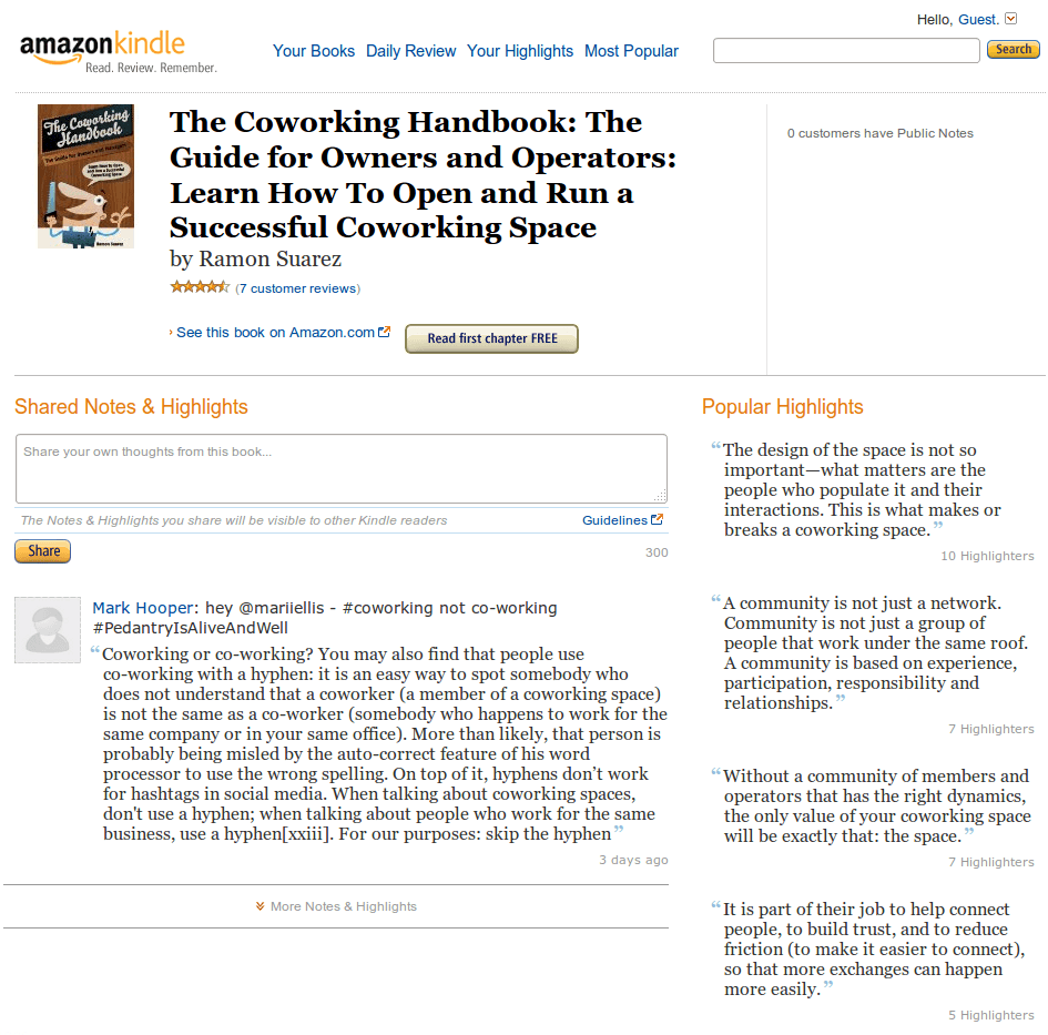 Popular Highlights and First Chapter of The Coworking Handbook